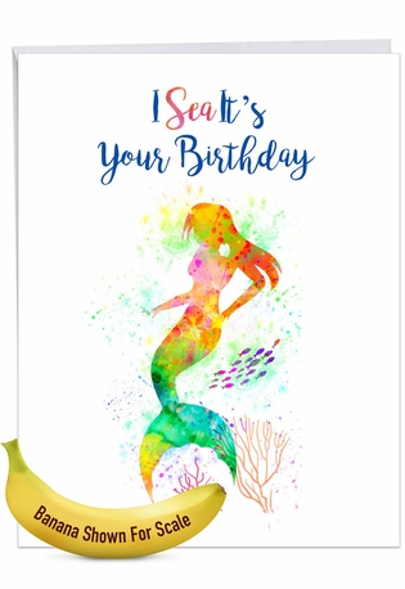 Creative Birthday Jumbo Greeting Card From NobleWorksCards.com - Funky Rainbow Mermaids