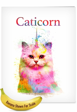 Creative Birthday Jumbo Greeting Card From NobleWorksCards.com - Caticorn