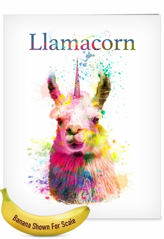 Stylish Birthday Jumbo Paper Card From NobleWorksCards.com - Llamacorn