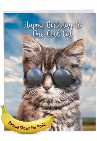 Creative Birthday Jumbo Greeting Card From NobleWorksCards.com - Kool Kitties - Brown