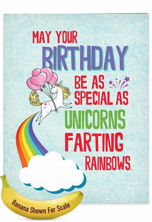 Hilarious Birthday Jumbo Printed Card From NobleWorksCards.com - Unicorns and Rainbows