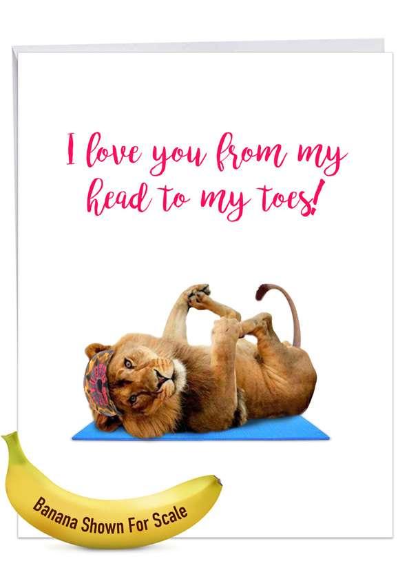 Stylish Birthday Jumbo Paper Card From NobleWorksCards.com - Wildlife Yoga - Lion