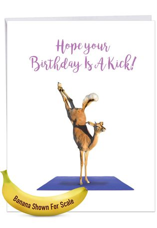 Stylish Birthday Jumbo Paper Greeting Card From NobleWorksCards.com - Wildlife Yoga - Antelope