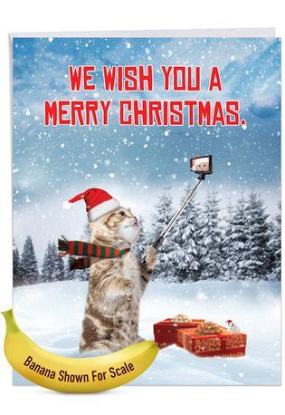 Humorous Merry Christmas Jumbo Paper Card From NobleWorksCards.com - Santa Cat Selfie
