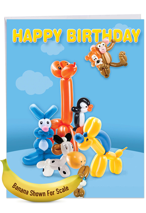 Stylish Birthday Jumbo Paper Greeting Card From NobleWorksCards.com - Balloon Babies