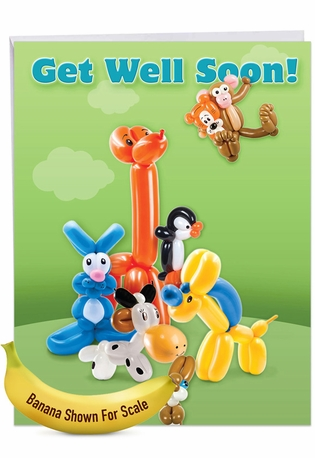 Balloon Babies: Creative Get Well Jumbo Printed Greeting Card