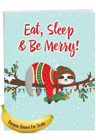 Hysterical Merry Christmas Jumbo Printed Card From NobleWorksCards.com - Eat, Sleep and Be Merry