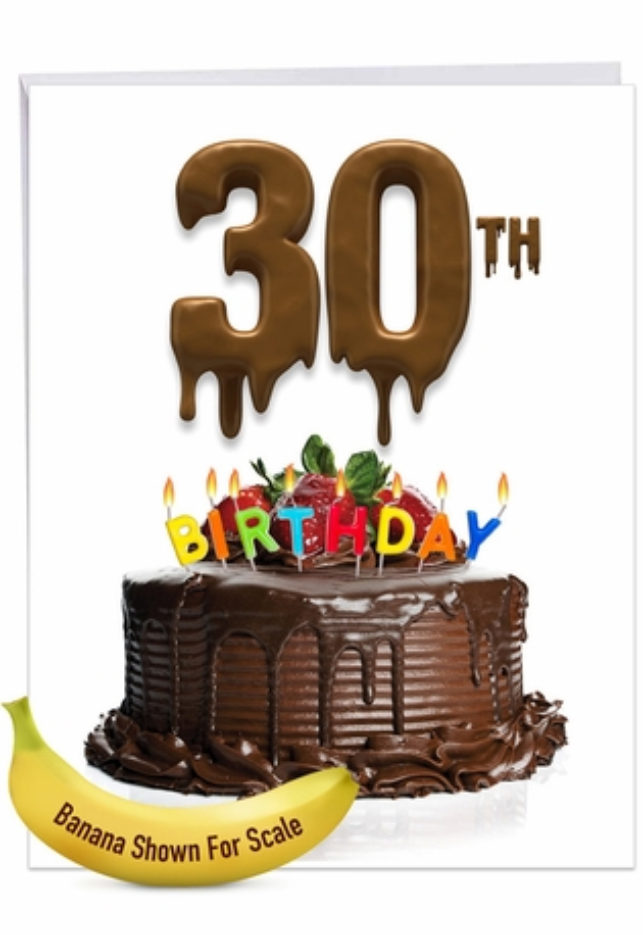 Stylish Milestone Birthday Jumbo Paper Card From NobleWorksCards.com - Big Day 30