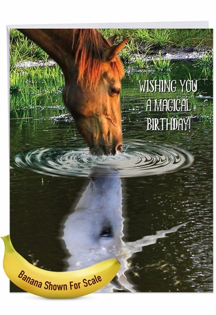 Stylish Birthday Jumbo Paper Card From NobleWorksCards.com - Aspirations - Horse