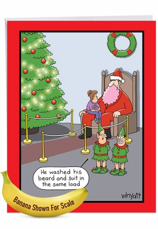 Hilarious Merry Christmas Jumbo Greeting Card By Tim Whyatt From NobleWorksCards.com - Pink Beard