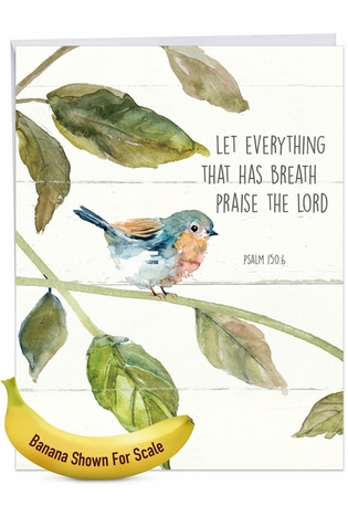 Stylish Congratulations Jumbo Paper Card From NobleWorksCards.com - Scripture Birds - Psalm 150:6