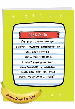 Hilarious Merry Christmas Jumbo Printed Greeting Card By Angela Chick From NobleWorksCards.com - Social Media Angel