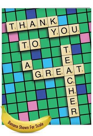Hilarious Teacher Thank You Jumbo Paper Greeting Card from NobleWorksCards.com - Thank You to a Great Teacher