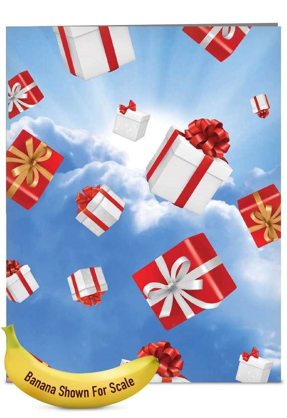 Stylish Christmas Jumbo Greeting Card from NobleWorksCards.com - Flying Gifts