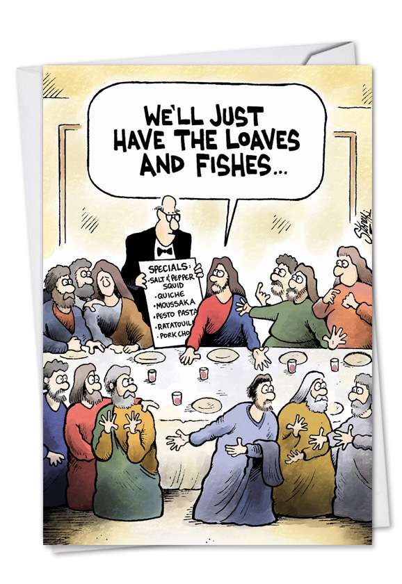 Loaves and Fishes: Hilarious Easter Printed Greeting Card