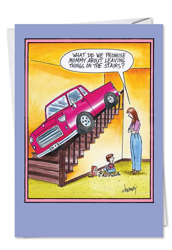 Leaving Things on Stairs: Funny Mother's Day Greeting Card