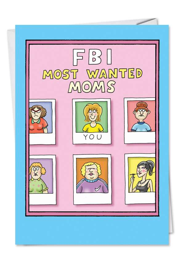 FBI Most Wanted Moms: Hilarious Mother's Day Paper Card