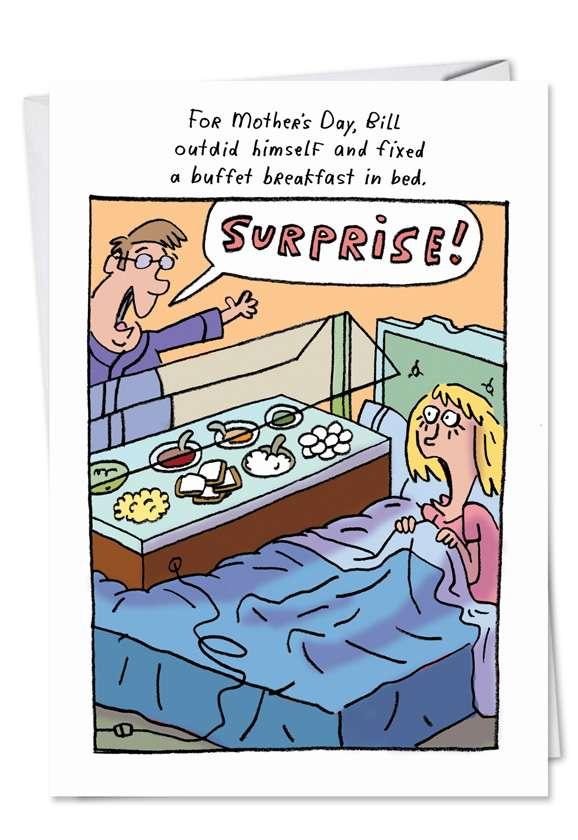 Breakfast in Bed: Hysterical Mother's Day Printed Card