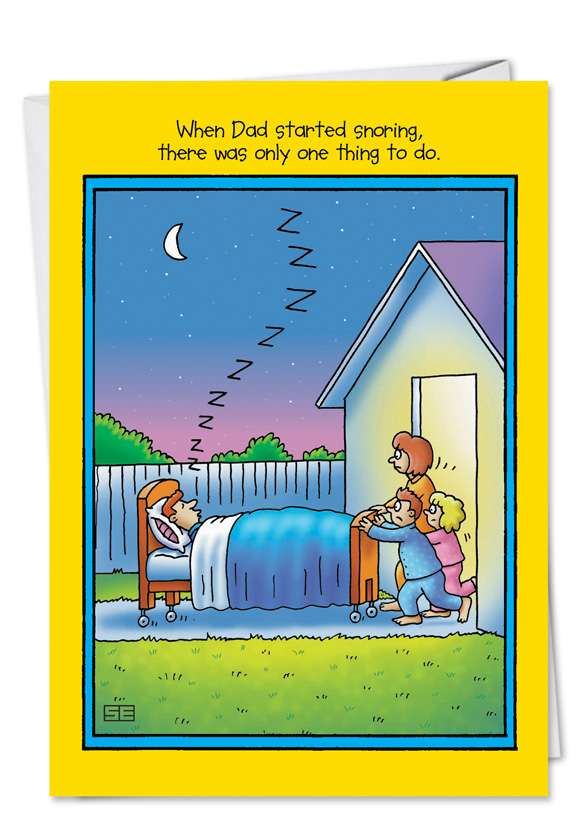 Dad Snoring: Funny Father's Day Greeting Card