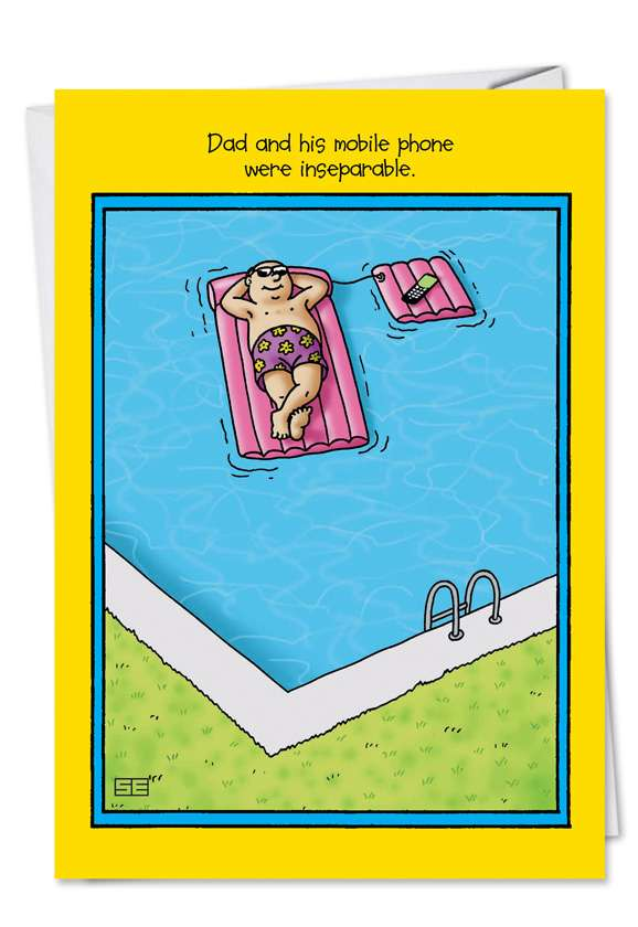Inseparable Mobile Phone: Hysterical Father's Day Paper Greeting Card