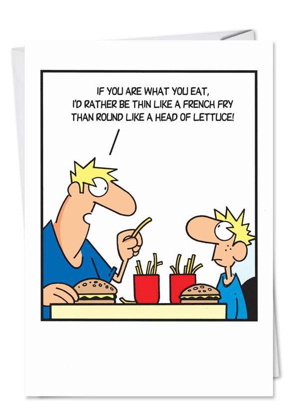 Thin Like French Fry: Hilarious Father's Day Printed Greeting Card