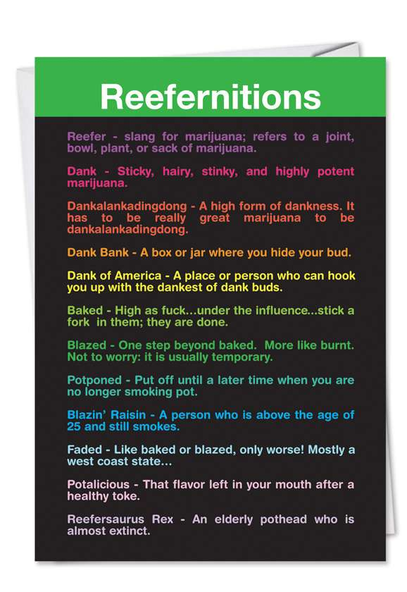 Reefernitions: Hysterical Birthday Paper Greeting Card