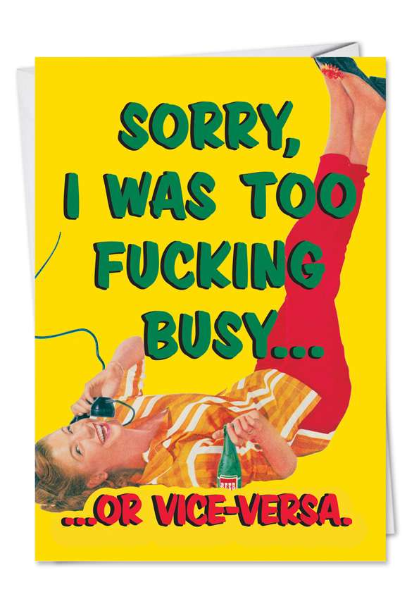 Too Busy: Humorous Birthday Printed Card