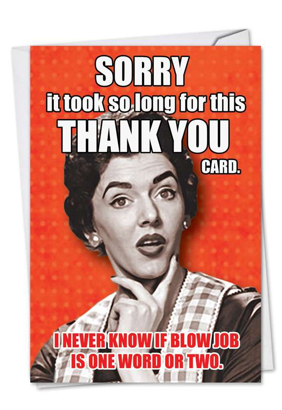 Blow Job: Humorous Thank You Printed Greeting Card