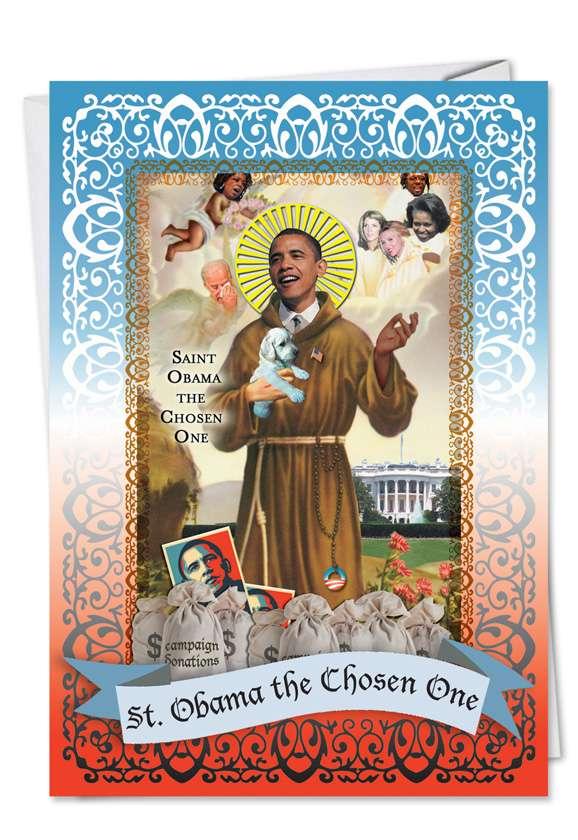 St. Obama: Funny Birthday Printed Card