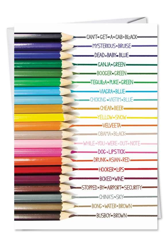 Color Pencils Unique Naughty Adult Humor Birthday Card