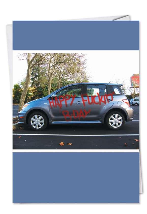 Graffiti Car: Hysterical Birthday Paper Card