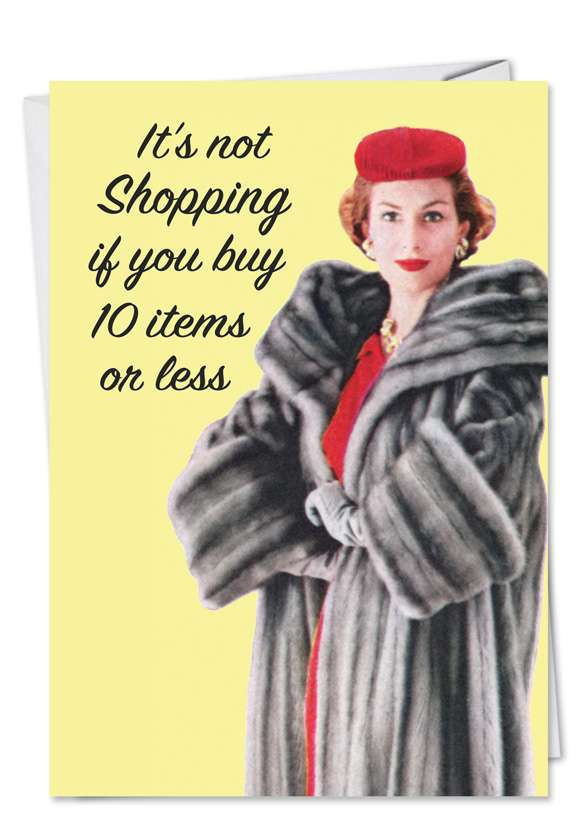 10 Items or Less: Funny Birthday Printed Greeting Card