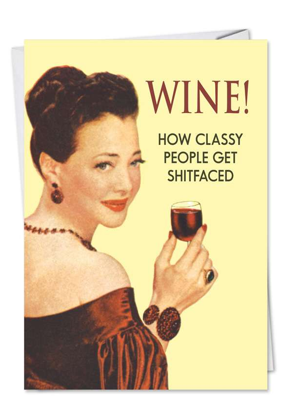 Wine: Humorous Blank Printed Greeting Card