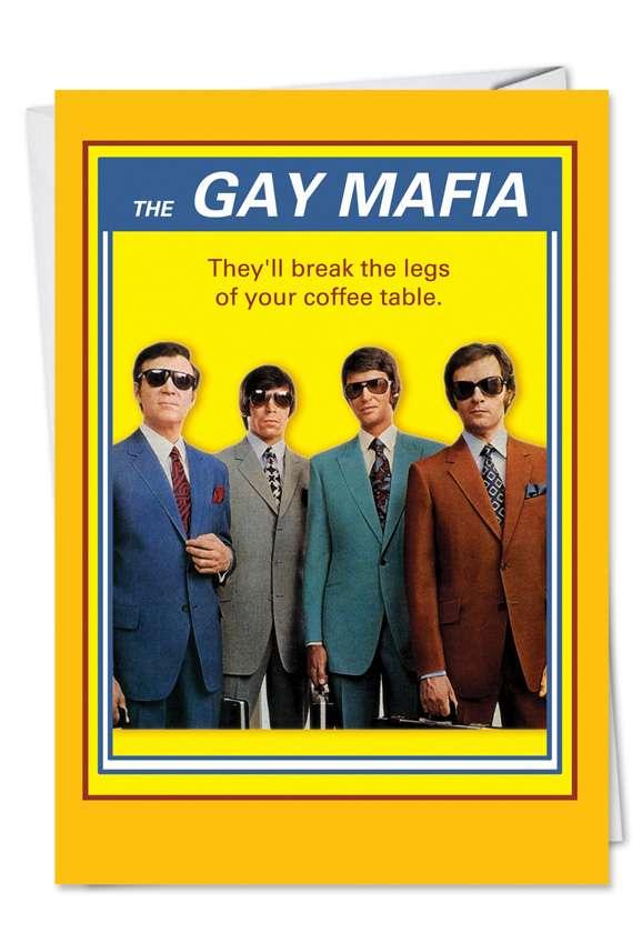 Gay Mafia: Humorous Birthday Printed Card