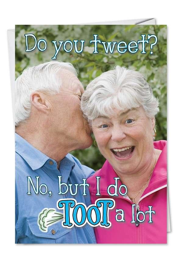 Tweet Toot: Humorous Birthday Paper Greeting Card