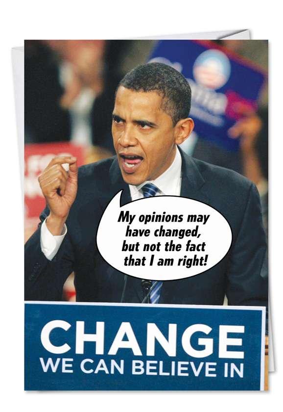 Obama Mind: Funny Birthday Paper Greeting Card
