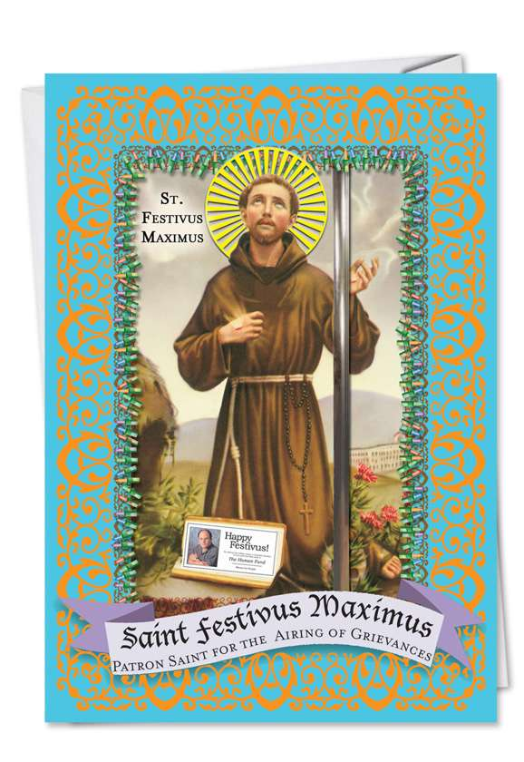 St. Festivus: Humorous Christmas Paper Greeting Card