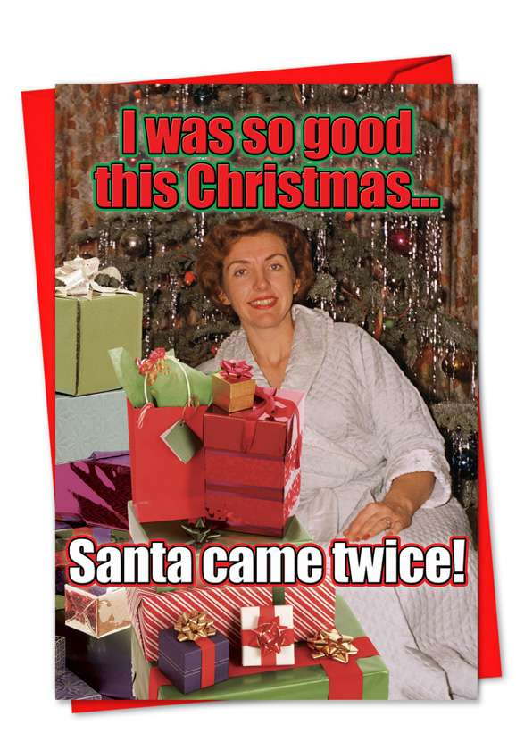 Santa Came Twice: Hilarious Christmas Paper Card