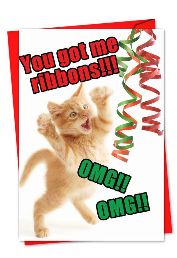 Cat Ribbons: Hysterical Christmas Printed Card
