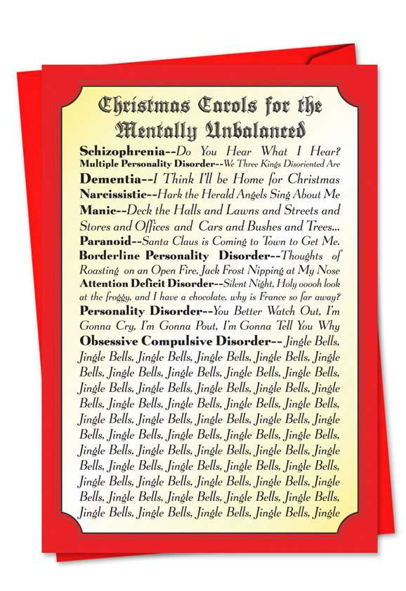 Christmas Carols For Everyone: Hilarious Blank Printed Card