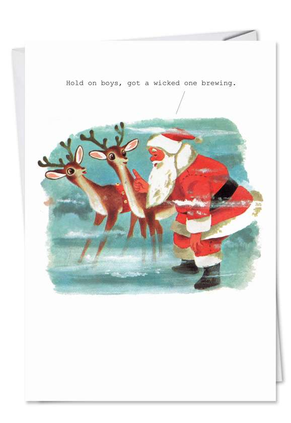 Wicked One Brewing: Funny Christmas Printed Greeting Card