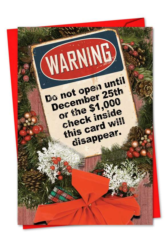 Do Not Open: Funny Christmas Paper Greeting Card