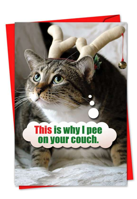 Pee On Couch: Funny Christmas Paper Card