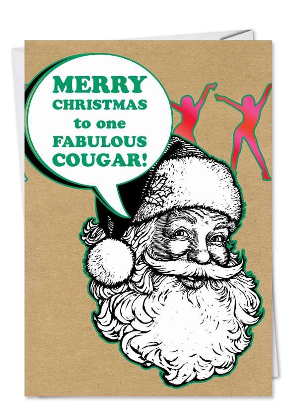 Fabulous Cougar: Humorous Christmas Printed Card