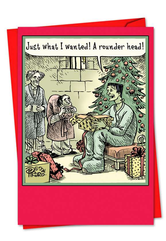 Rounder Head: Hilarious Christmas Paper Greeting Card