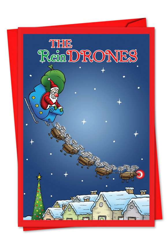 Santa's New Reindrones: Humorous Christmas Paper Greeting Card