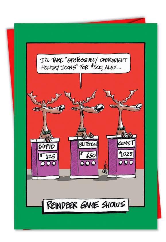 Reindeer Gameshow Card