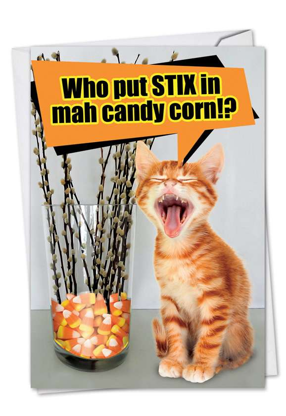 Stix In Candy Corn: Funny Halloween Printed Greeting Card
