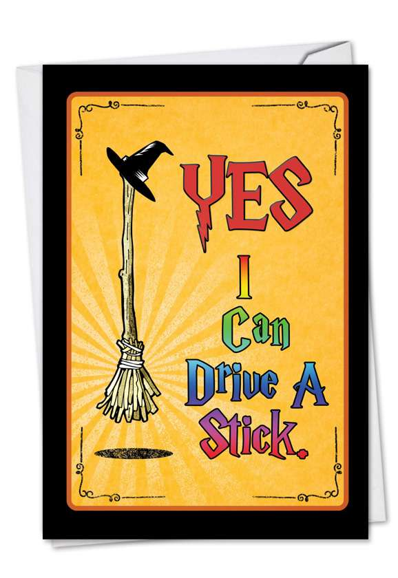Drive A Stick: Humorous Halloween Greeting Card