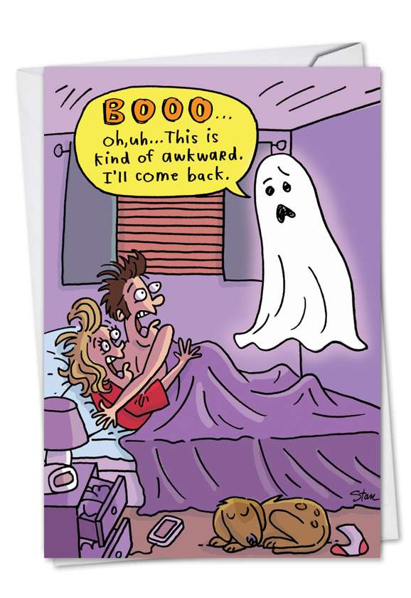 Awkward Boo: Funny Halloween Paper Greeting Card